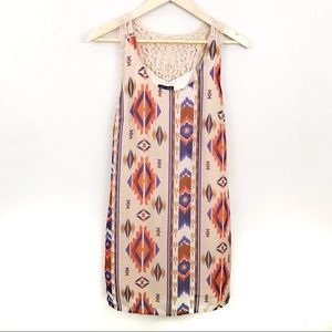 As U Wish Boho Bohemian Aztec Mini Dress S